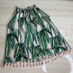 Japna Palm Leaf Tassel Pom Pom Halter Tank Top